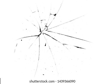 Cracks in the glass. Broken glass on a white background, texture background design object