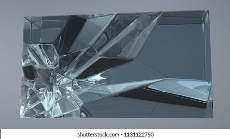 cracks inside the glass cube, 3d illustration