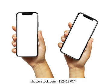 Cracow, Malopolskie / Poland - October 07 2019: Woman hand holding iPhone 11. The black Apple iPhone 11 Pro with blank screen template - modern frameless design