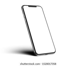 Cracow, Małopolskie / Poland - October 02 2019: 3d render of Brand new Iphone 11 Pro Max in silver color - template with blank screen for application presentation.