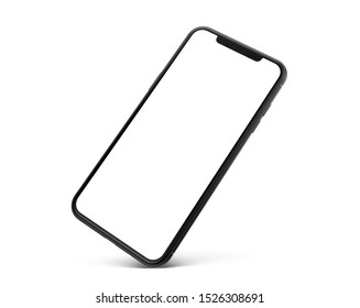 Cracow, Małopolskie / Poland - October 09 2019: 3d render of Brand new Iphone 11 Pro Max in silver color standing on corner - template with blank screen for application presentation.