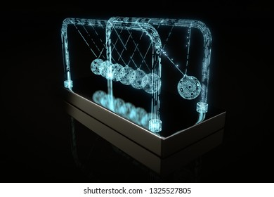 Newton´s Cradle electrified 3D