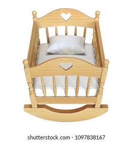 Cradle isolated on white background  3d rendering
