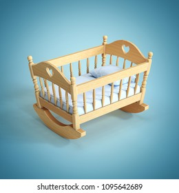 Cradle on blue background  3d rendering