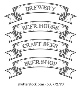 Craft beer brewery shop market emblem ribbon. Monochrome medieval set vintage engraving sign isolated on white background. Sketch hand drawn illustration. Fresh beer retro style.
