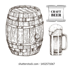 Craft beer glass and wooden barrel alcoholic drink. Monochrome sketches outline of keg and alcohol with foam poured in mug. Ribbon and text raster