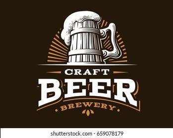 Craft beer logo-  illustration, emblem brewery design on dark background