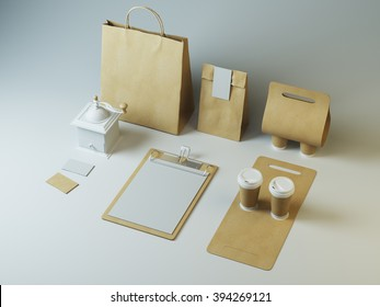 Craft set of branding elements for cafe or restaurant on white background
