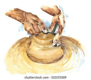 Craftsman hands making pot watercolor painting illustration isolated on white background