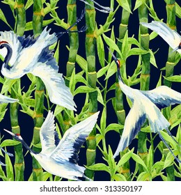 Crane bird background. Watercolor asian crane bird seamless pattern. Hand painted bamboo illustration on dark background