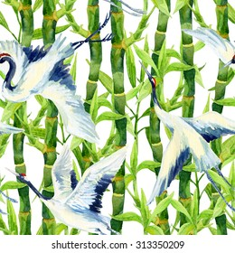 Crane bird background. Watercolor asian crane bird seamless pattern. Hand painted bamboo illustration on white background