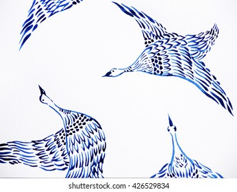 crane birds flying watercolor painting hand drawn japanese style design illustration