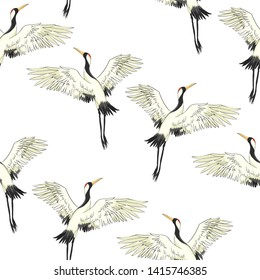 crane birds illustration, pattern, nature
