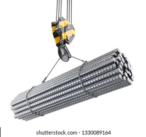 Crane hook hanging on a steel ropes with big steel reinforcement pack. 3D illustration isolated on white background.