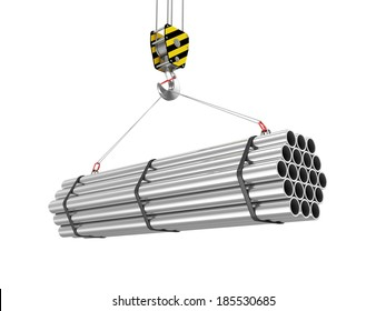 Crane Hook with Stack of Steel Metal Tubes isolated on white background