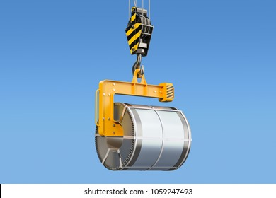 Crane hook with steel coil, 3D rendering