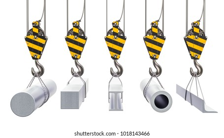 Crane hooks with metallurgical products, rolled metals. 3D rendering isolated on white background
