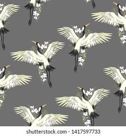 crane, pattern, illustration flying bird flower