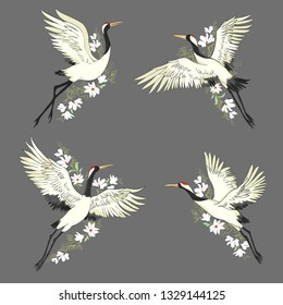Crane set, illustration, bird in flight Design element