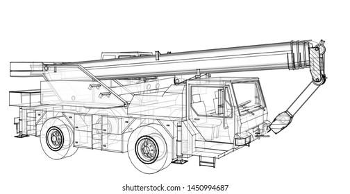 crane truck 3d illustration  sketch