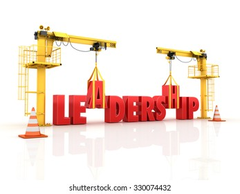 Cranes building the LEADERSHIP Word - High Quality 3D Render