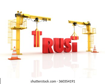 Cranes building the TRUST  Word - High Quality 3D Render