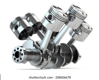 Crankshaft V6 engine isolated on white background
