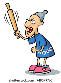 A cranky granny wielding a rolling pin.