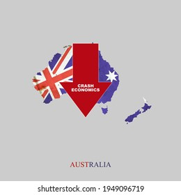 Crash Economics, Australia. Red down arrow on the map of Australia. Economic decline. Downward trends in the economy. Isolated. Business.