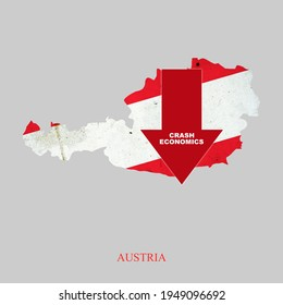 Crash Economics, Austria. Red down arrow on the map of Austria. Economic decline. Downward trends in the economy. Isolated. Business
