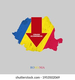 Crash Economics, Romania. Red down arrow on the map of Romania. Economic decline. Downward trends in the economy. Isolated. Business.