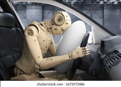 Crash-Test mit 3D-Renderingdummschlag mit Airbag