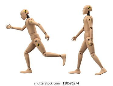 Crash Test Dummies isolated on White Background. Clipping path. 3D illustration