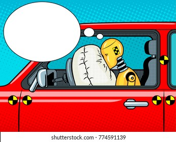 Crash test dummy in car after accident pop art retro raster illustration. Comic book style imitation.