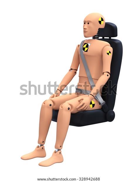 Crash Test Dummy in Car Seat. Safety Concept
