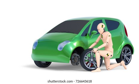 Crash Test Dummy Changing Car Wheel. 3D illustration