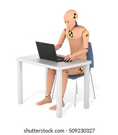 Crash Test Dummy Sitting at a Table and Using Laptop. 3D illustration