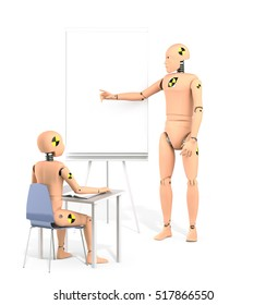 Crash Test Dummy Teaching Lesson. 3D illustration
