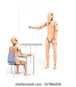 Crash Test Dummy Teaching Lesson. 3D illustration