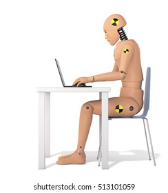 Crash Test Dummy Using Laptop. Side view. 3D illustration