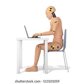 Crash Test Dummy Using Laptop. Side view. 3D illustration