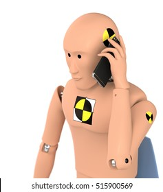 Crash Test Dummy Using Smart Phone. 3D illustration