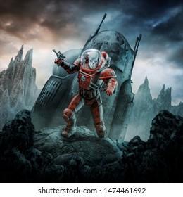 Crashed skeleton astronaut / 3D illustration of retro science fiction scene showing evil skull faced space soldier after crash landing on alien world