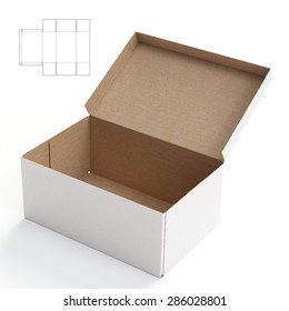 Crate Empty Box with Die Cut Template