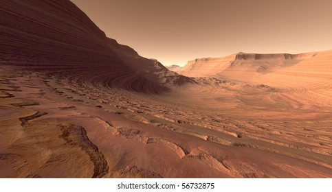 Crater valley with sculpted buttes on Mars