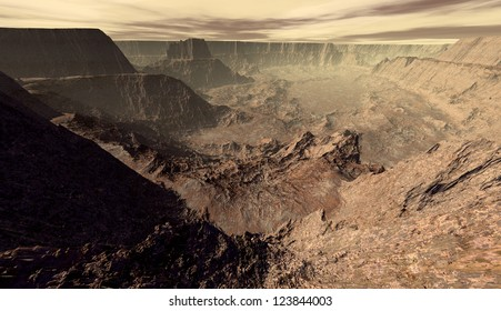 Cratered Mars canyon viewed from escarpment