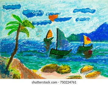 Crayon color illustration of seascape and beach with sailboat in morning.