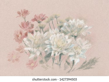 Crayon drawing of white and red flowers