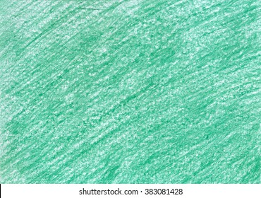 Crayon scribble background. Green pastel spot. Wax crayons texture. Gradient. Backdrop with scratches and dots. Emerald Pencil Brush. Hand painted. Grunge chalk.