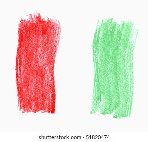 crayon sketch of an italian flag on white paper